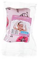 Губка для купания махровая с кармашком для мыла розовая BADUM