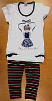 Комплект для девочки футболка и лосины из хлопкового трикотажа 98-140 р