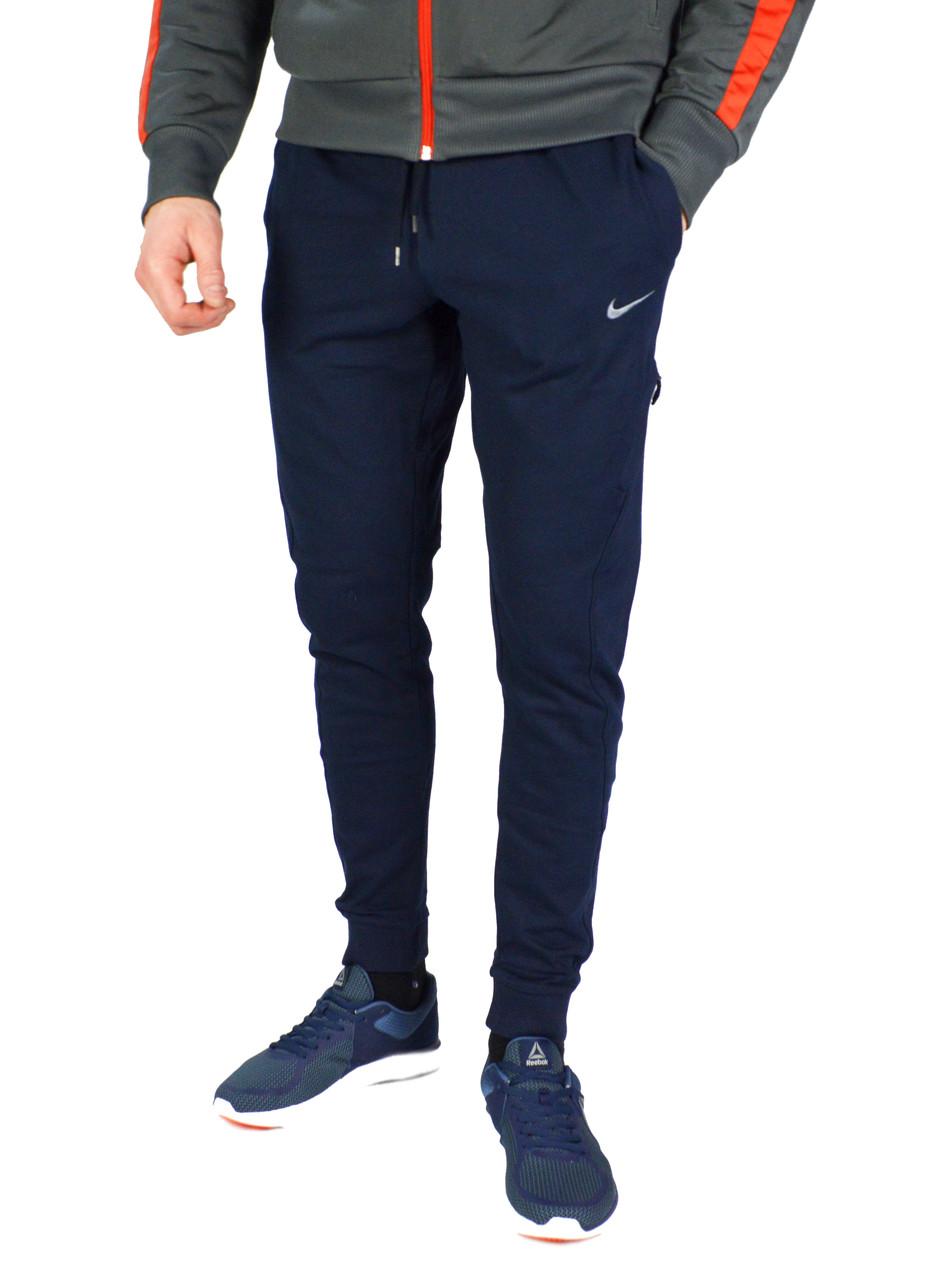 Темно-синие мужские летние спортивные штаны с манжетами NIKE
