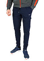 Темно-синие мужские летние спортивные штаны с манжетами NIKE, фото 1