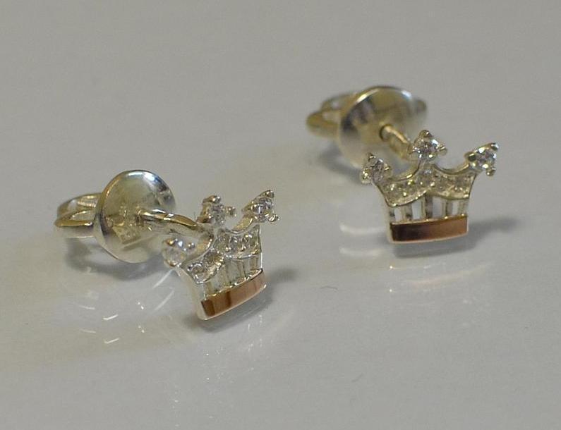 Серебряные пусеты с золотыми вставками (Вк-1)