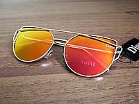 """Солнцезащитные зеркальные очки """"Кошка"""" копия Диор"""
