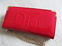 Клатч портмоне Dior ЛАК красный