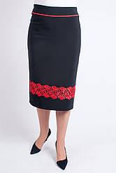 """Женская юбка  """"Арина"""" размер 48-60 с красным кружевом"""