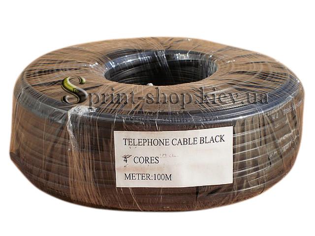 Телефонный кабель 4 жилы черный VECTOR 100 м