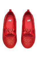 Красные туфельки балетки  от H&M с перламутром и сердцем