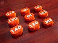 Оранжевая акриловая шильда 80х50 (220 штук) (Двухсторонний скотч: Есть;  Заливка эмалью: 1 слой; Основание: Цветной акрил;)