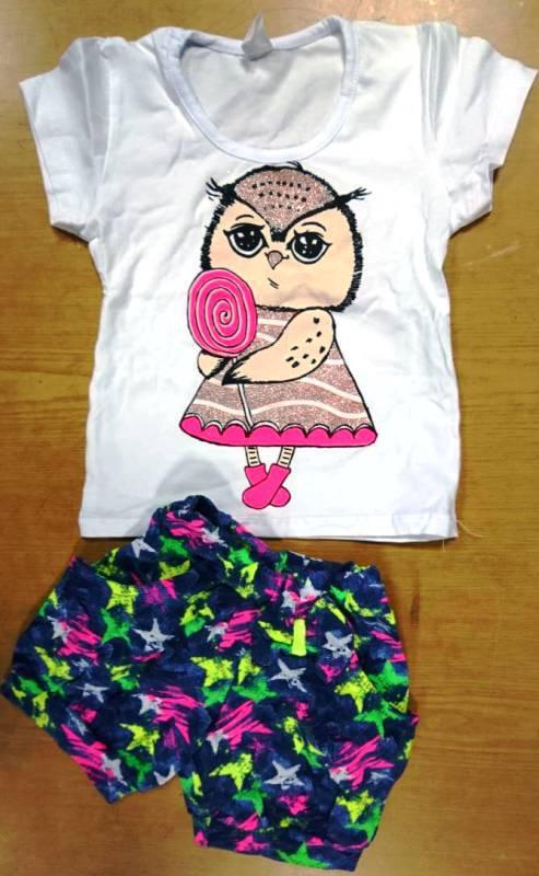 Комплект для девочки футболка и шорты из хлопкового трикотажа 98-140 р Сова