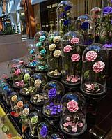 Живая роза в стеклянной колбе большой выбор