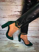 Туфли женские зеленые натуральная замша от производителя