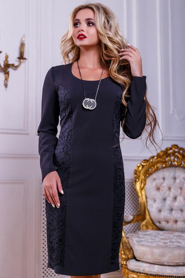 a916c2df841 Стильное Черное Офисное Платье Д-1008 — в Категории