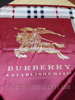 Палантин Burberry шелк, бордо, фото 3