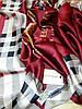 Палантин Burberry шелк, бордо, фото 4