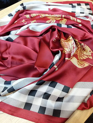 Палантин Burberry шелк, бордо, фото 2