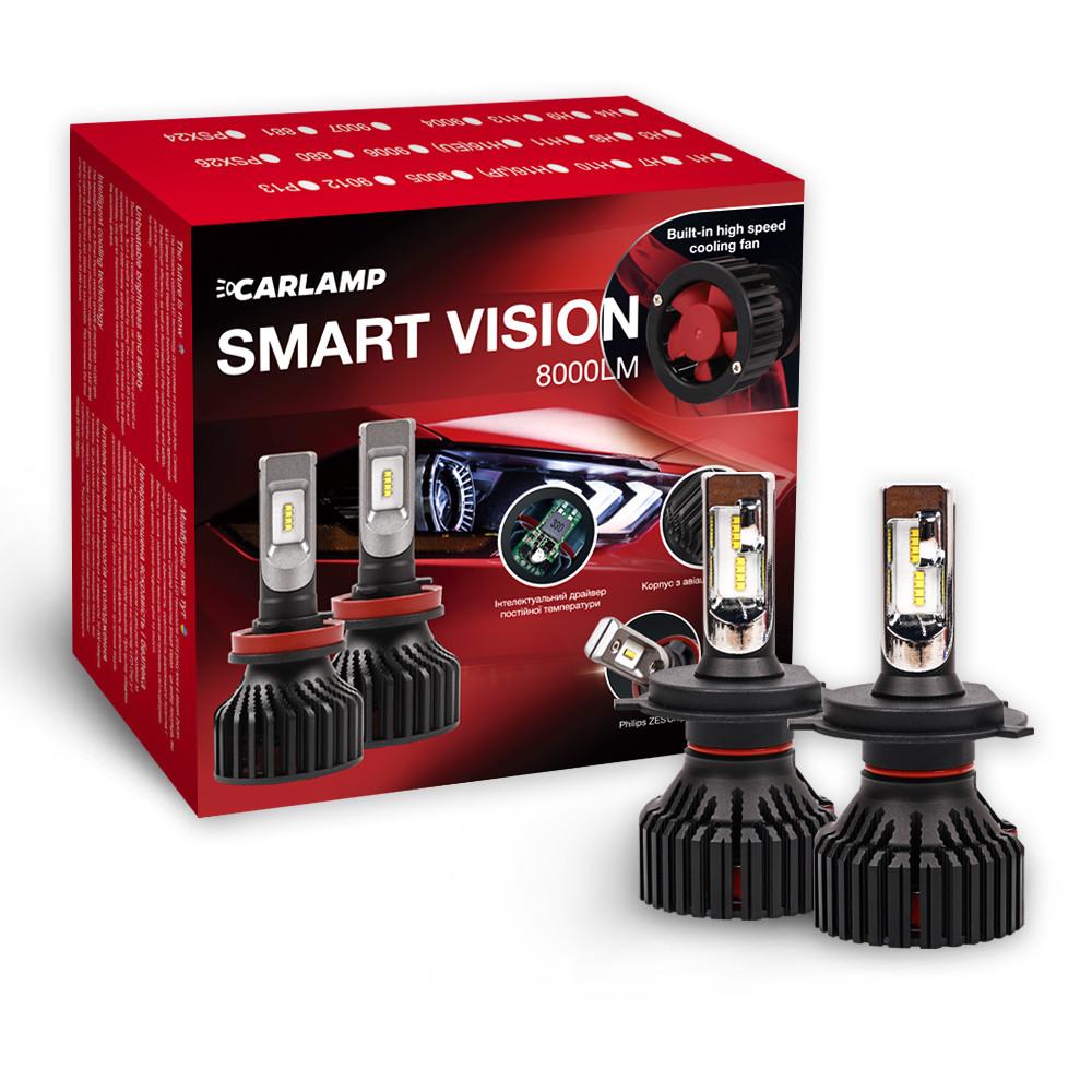 Светодиодные лампы H4 Carlamp Smart Vision 8000Lm 6500K для головного освещения (SM4)