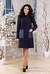 Женское пальто синее весна осень