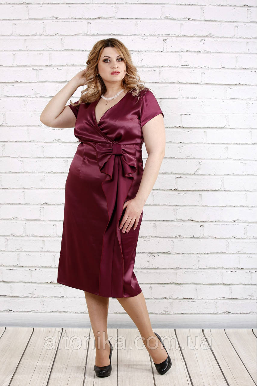 Атласное платье | Бордовое