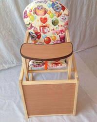 Деревянный детский стульчик трансформер, столик для кормления Happy birthday