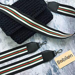 Плечевой ремень для сумки с карабинами, цвет красно-зеленый с белым и черным