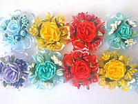 Резинка-Бант Цветы с калиной цветная (d10см) 12шт/уп