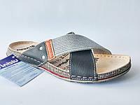 Мужские удобные стильные серые шлепанцы, кожаная ортопедическая стелька 40 Inblu