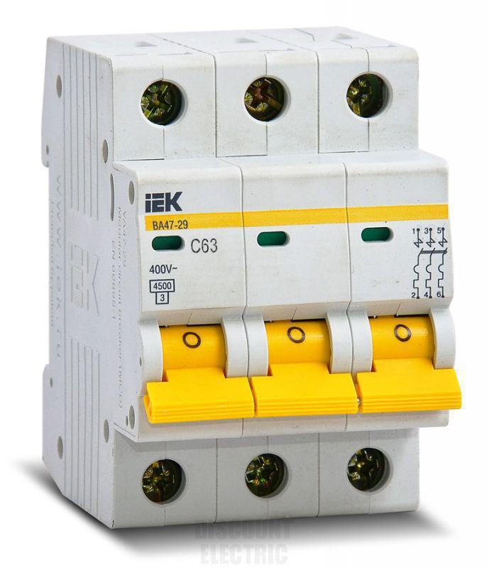 Автомат 50А IEK ВА47-29, 3P, 4,5кА, тип С