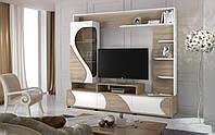Горка Акварель, стенка в гостиную, тумба под телевизор Дуб сонома+Белый