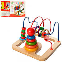 Деревянная игрушка Лабиринт A03241  на проволоке, пирамидка(кольца5шт),в кор-ке,20,5-20-15,5см