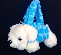 Детская меховая сумка Собачка с длинной и короткой ручкой 25*10 см (голубая)