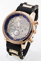 Мужские наручные часы (золотой корпус, черный ремешок)