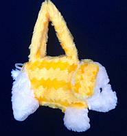 Детская меховая сумка Собачка с длинной и короткой ручкой 25*10 см (желтая)
