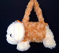 Детская меховая сумка Собачка с длинной и короткой ручкой 25*10 см (рыжая)
