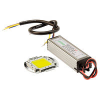 Комплект для сборки LED прожектора и уличного светильника 50Вт, 65 (COB+драйвер)