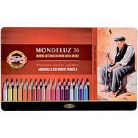 Карандаши акварельные цветные Koh-i-Noor Mondeluz 3725 36 цв. подарочные