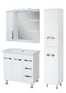 Комплект мебели для ванной комнаты Альвеус  Т-80-31К-З-80-03-П-35-03 с зеркалом и пеналом ПИК