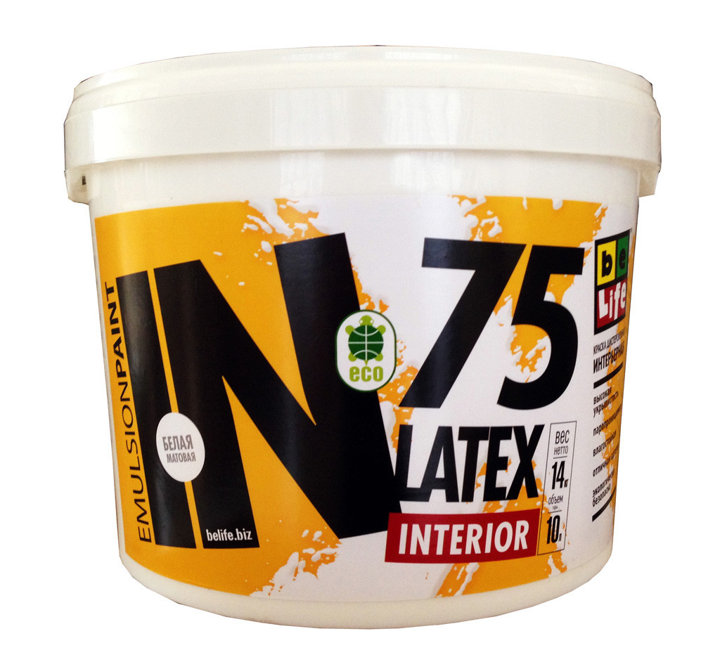 Дисперсионные интерьерная краска Belife Latex Interior белая IN75, 10л, 14кг