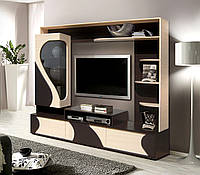 Горка Акварель, стенка в гостиную, тумба под телевизор Венге темный+Дуб молочный