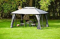 Тканевая беседка большая серая из стали (шатер 3*4 метра) с боковыми панелями
