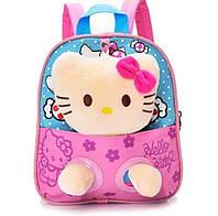Детский розовый рюкзак с игрушкой Кошечка 21*24 см