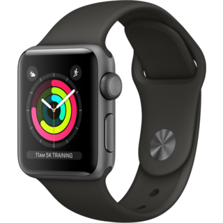 Apple Watch Series 3 38mm GPS Space Gray Aluminum Case with Gray Sport Band (MR352)