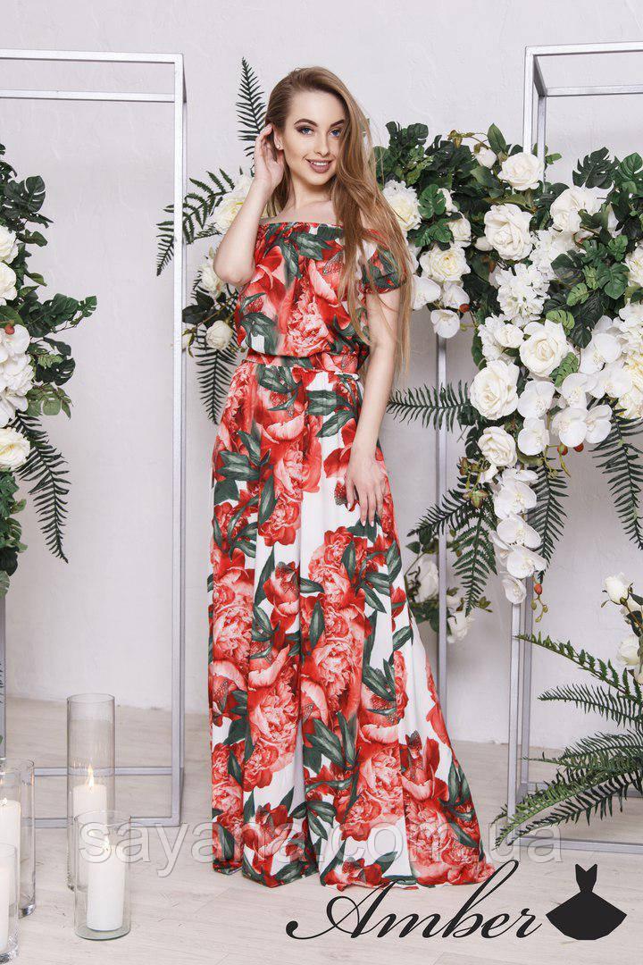 2fa4aa8f1a9 Женское длинное платье с цветочным принтом в расцветках. И-2-0318 ...