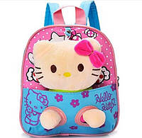 Детский голубой рюкзак с игрушкой Кошечка 21*24 см