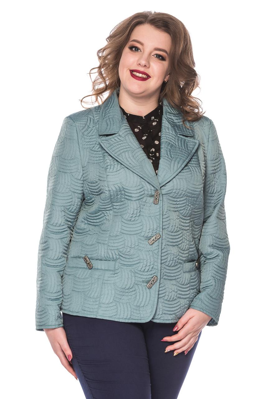 Женский демисезонный пиджак Адель голубой (50-60)