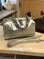 Кожаная женская сумка серебро и розовая, фото 1