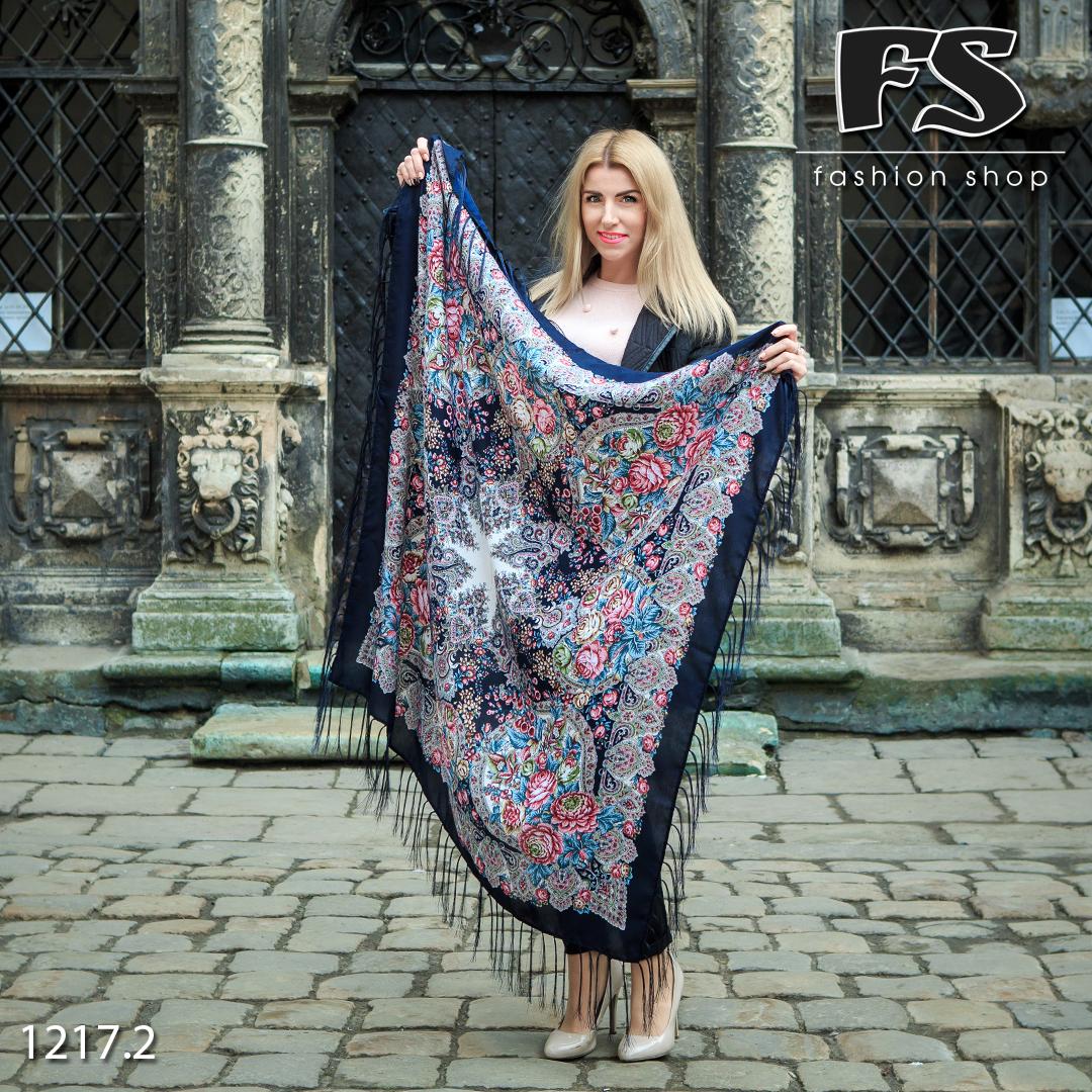 Тёмно-синий павлопосадский платок Испанский танец