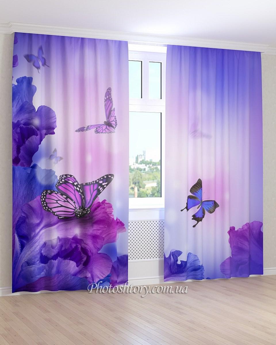 Фотошторы синие бабочки на синих цветах