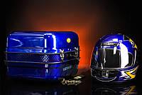 Кофр багажник Delta железный синяя c шлемом