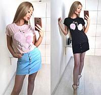 """Футболка женская """"Фламинго""""в расцветках 24469"""