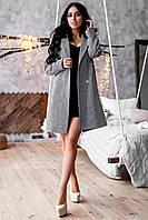 """Пальто женское """"Аврора"""" из твида светло серое, фото 1"""