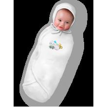 """Пеленка кокон для новорожденных БЕЛАЯ НА ЛИПУЧКАХ """"Deep Sleep Flanel 3"""" Classic"""
